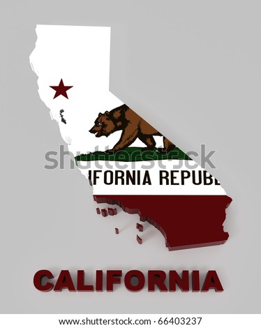 California, map with flag, isolated on gray with clipping path, 3d illustration - stock photo