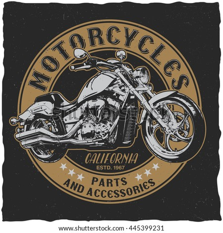 California motorcycles parts and accessories label design for t-shirt, posters, greeting cards etc. Raster copy of vector file