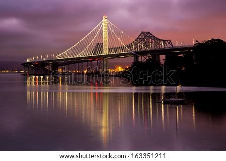 California New Bay Bridge in Morning Light - stock photo