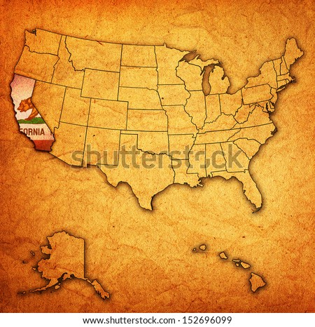 california on old vintage map of usa with state borders - stock photo