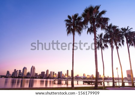 California Palm Trees and City of San Diego, California USA  - stock photo