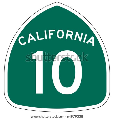 California route or highway 10 sign, isolated on white background. - stock photo