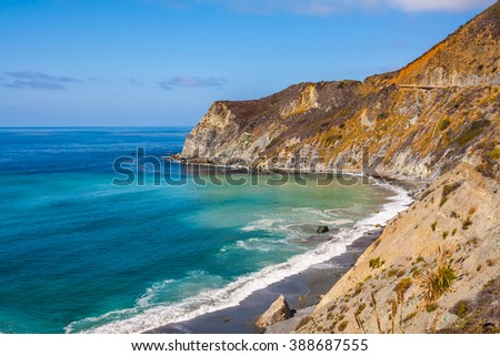 California route â??1. The scenic road passes over the ocean bay with emerald water