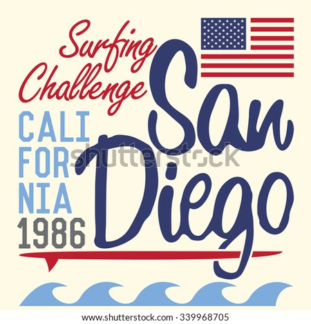 California San Diego typography, t-shirt Printing design, Summer Badge Applique Label.