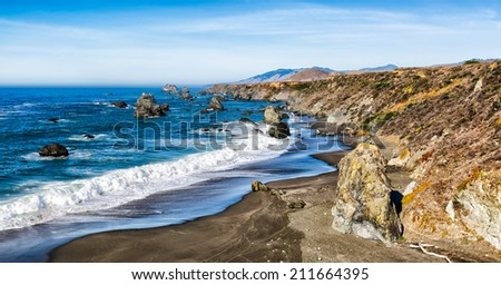 California seascape with dramatic rock formations and sea stacks. Location: Sonoma coast about 80 miles north of San Francisco - stock photo