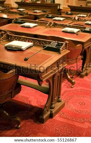 California Senate Chamber Desks - stock photo