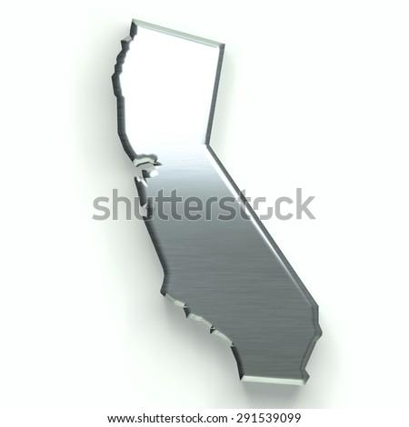 California silver map. 3D design - stock photo