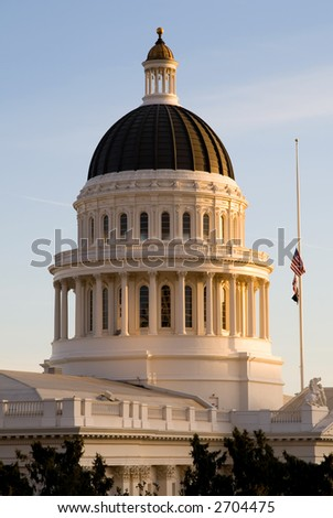 California State Capitol at sunset (close-up)