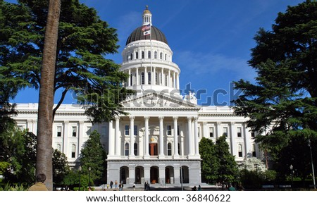 California state capitol building, front view on summer day - stock photo