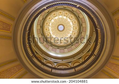 California State Capitol rotunda dome in Sacramento, California. - stock photo