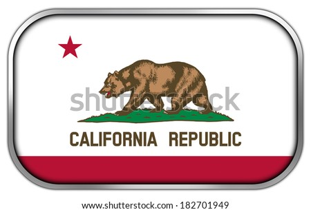California State Flag rectangle glossy button - stock photo