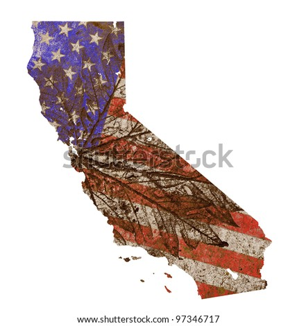 California state of the United States of America in grunge flag pattern isolated on white background - stock photo