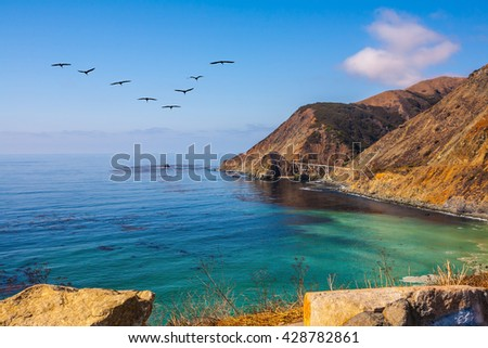 California State Route 1, USA. The flock of cranes flying over the ocean bay with emerald water - stock photo