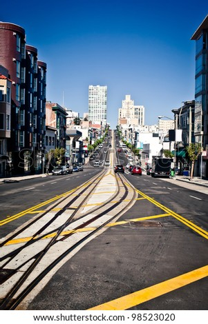 California Street in San Francisco - stock photo