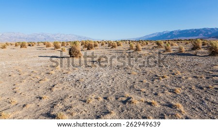 California, sunrise in Death Valley Desert under a blue sky - stock photo