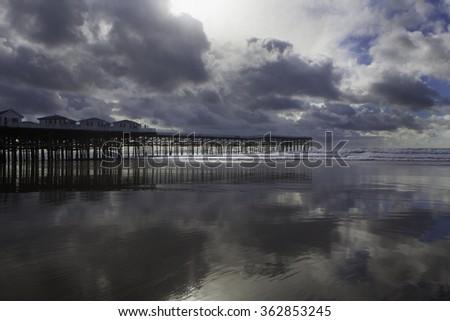 California sunset at Pacific Beach pier - stock photo
