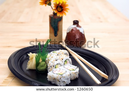 California sushi roll with wasabi and pickled ginger - stock photo