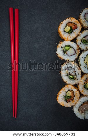 California sushi style rolls, with raw vegetables, food border background - stock photo