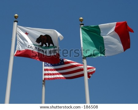 California, U.S.A. and Italy flags