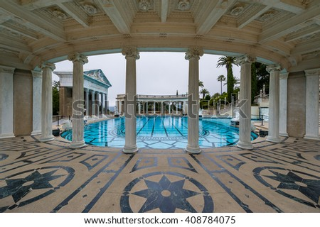 California, USA, 09 Jun 2013: Grand, luxurious swimming pool in Hearst Castle. - stock photo