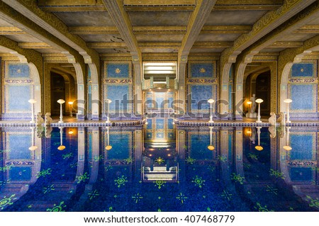 California, USA, 09 Jun 2013: Luxurious swimming pool in Hearst Castle, which is a National and California Historical Landmark opened for public tours. - stock photo