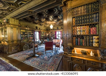 California, USA, 09 Jun 2013: Study room with book shelves at Hearst Castle, which is a National and California Historical Landmark opened for public tours.