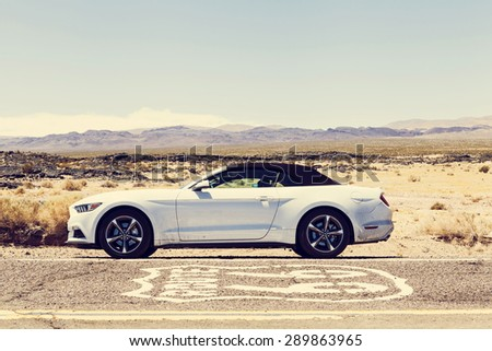 CALIFORNIA, USA JUNE 19, 2015: Photo of a sixth generation Ford Mustang 2015 at Route 66, California, USA.  - stock photo