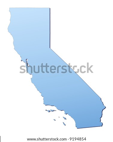 California(USA) map filled with light blue gradient. High resolution. Mercator projection. - stock photo