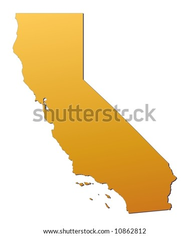 California (USA) map filled with orange gradient. Mercator projection. - stock photo