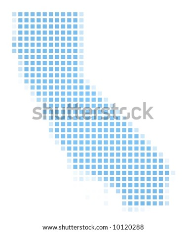 California(USA) map square mosaic. Easy to recolor. - stock photo