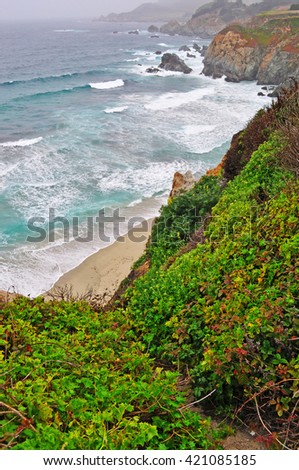California, Usa: Pacific Ocean and panoramic view in Big Sur on 8 June 2010. Big Sur, a region of the Central Coast of California, is one of the most popular tourist destination of California