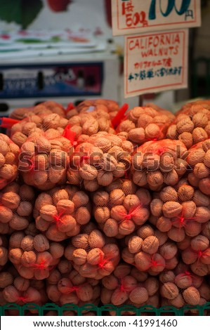 California walnuts being sold in Tokyo, Japan.
