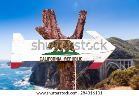 California wooden sign with Big Sur background - stock photo