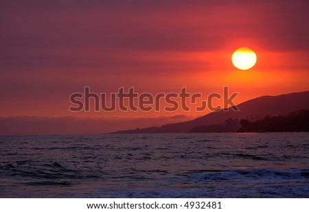 Californian beach sunset - stock photo