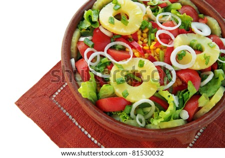 Californian Salad: mixed salad with pineapple, tomatoes, cucumber, lettuce, onion.. - stock photo