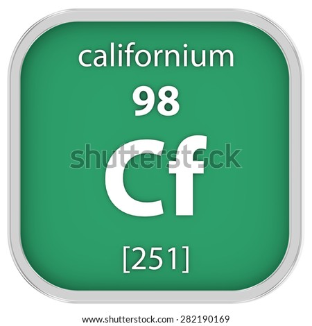 Californium material on the periodic table. Part of a series. - stock photo