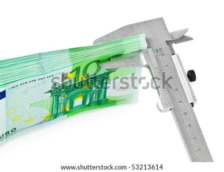 Caliper and money isolated on white background - stock photo