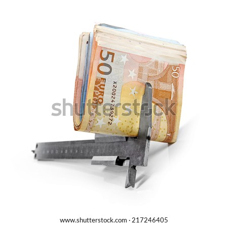 caliper and paper euro money isolated on white background - stock photo
