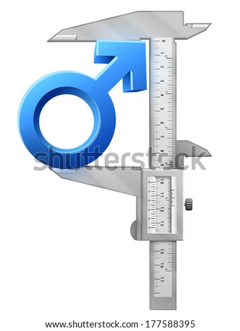 Caliper measures male sign. Graphic concept of measuring size of man symbol. Qualitative illustration about men's biology and health, male psychology (father, son), sex differences, gender role, etc - stock photo