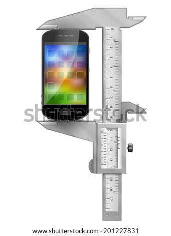 Caliper measures smartphone. Concept of phone symbol and measuring tool. Qualitative illustration about smartphone, communication, mobile technology, digital devices, phone development, etc - stock photo