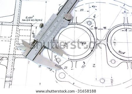 Caliper on Blueprint. Horizontal. Shallow Depth of Field - stock photo