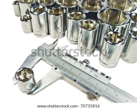 caliper with box spanners - stock photo