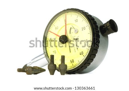 Caliper with heads for different surfaces on white background - stock photo