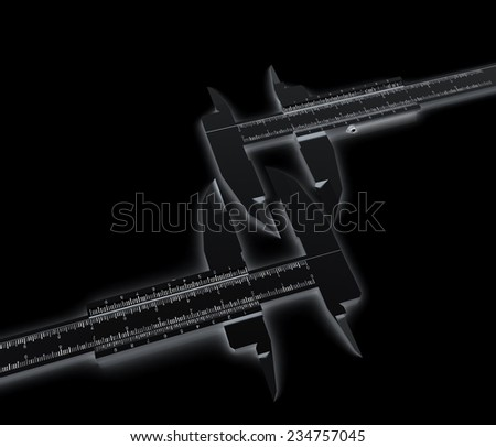 Calipers on a black background - stock photo