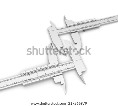 Calipers on a white background - stock photo