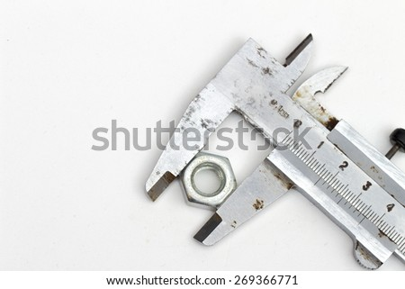calipers on the white background - stock photo