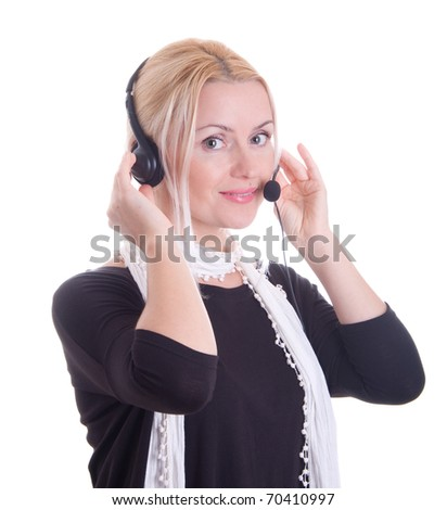 Call center, beautiful woman with headset, isolated on white background beautiful female - stock photo