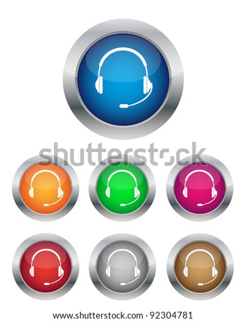 Call center buttons in various colors. Vector available. - stock photo