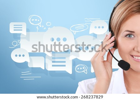 Call Center, Customer Service Representative, Service. - stock photo