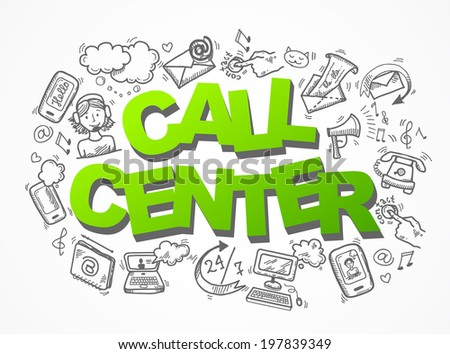 Call center customer service user support sketch icons composition  illustration - stock photo